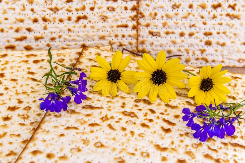 Unleavened bread - matzah for Jewish Passover Holiday, stock photos