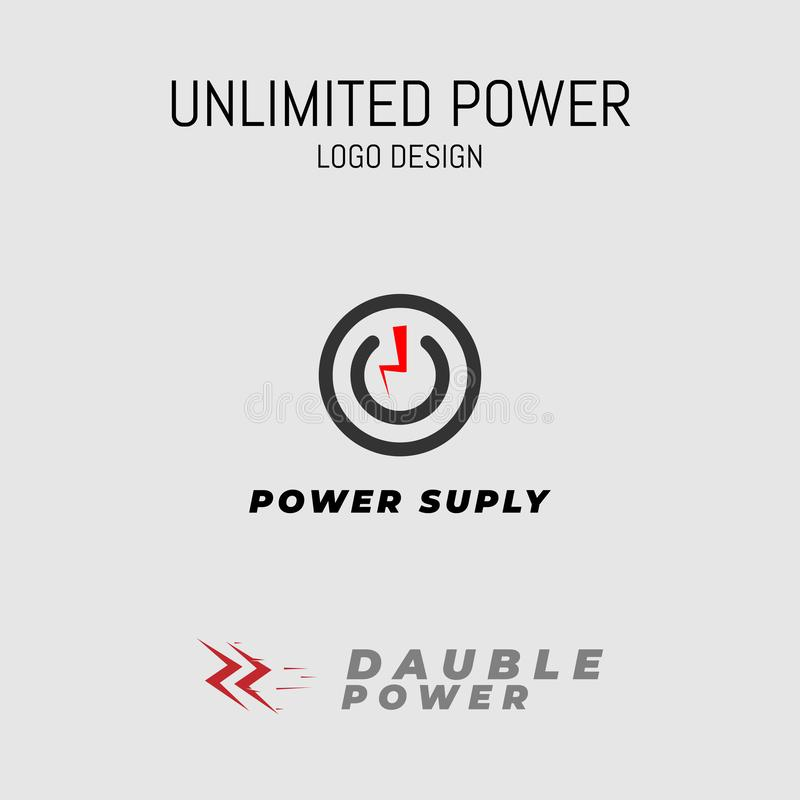 Unlimited power logo design thunderbolt simple royalty free illustration