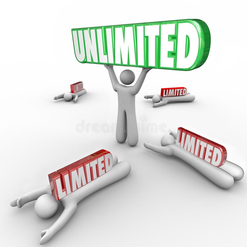 Free Unlimited Vs Limited Resources Freedom Abilities Unrestricted Success Royalty Free Stock Images - 49127459