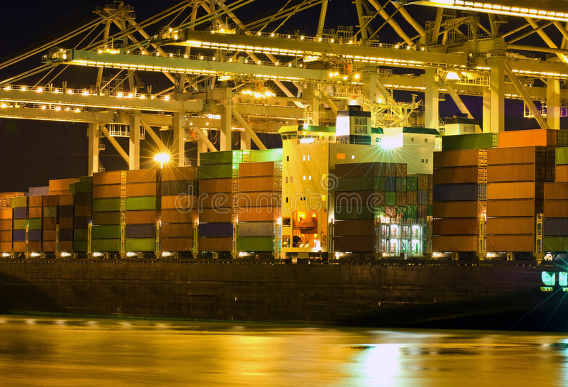 Unloading of a bulk carrier royalty free stock photography