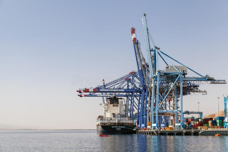 Unloading container ship, Aqaba royalty free stock image