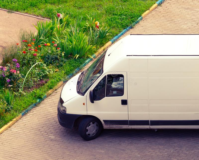 Unloading delivery van royalty free stock photo