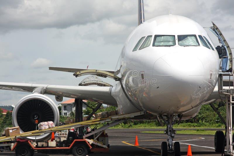 Unloading plane stock images