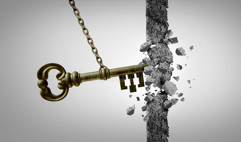 Unlock Concept. Unlock key business success concept and keyhole metaphor for unlocking opportunity with 3D illustration elements royalty free illustration