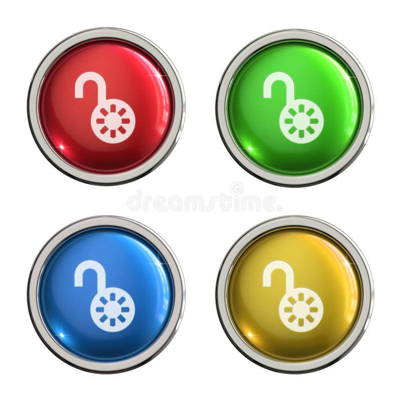 Unlock icon glass button stock illustration
