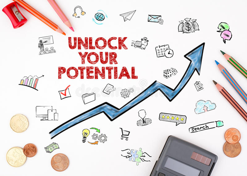 Unlock Your Potential concept. The sheet of paper with diagram royalty free stock photography
