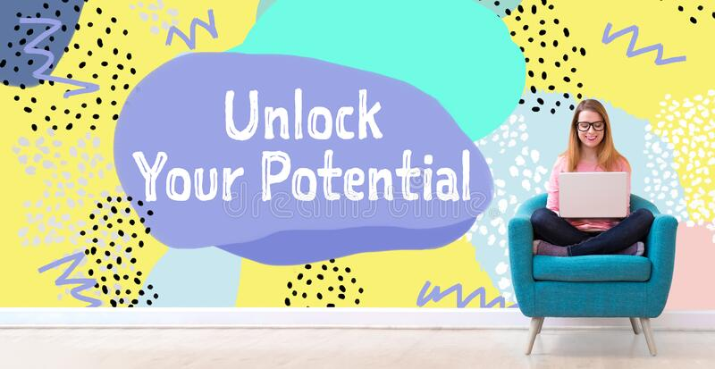 Unlock your potential with woman using a laptop royalty free stock photos