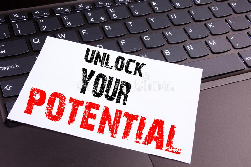 Unlock Your Potential writing text made in the office close-up on laptop computer keyboard. Business concept for Growth and Develo stock images
