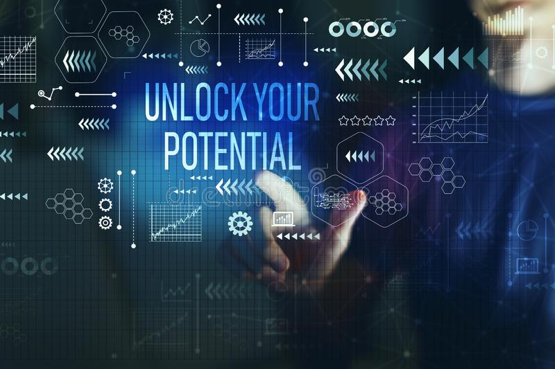 Unlock your potential with young man royalty free stock image