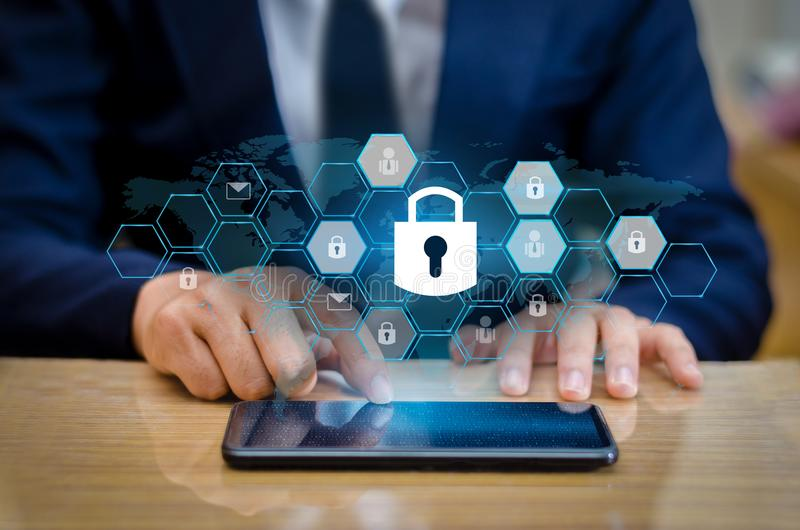 Unlocked smartphone lock Internet phone hand Business people press the phone to communicate in the Internet. Cyber security concep royalty free stock photo