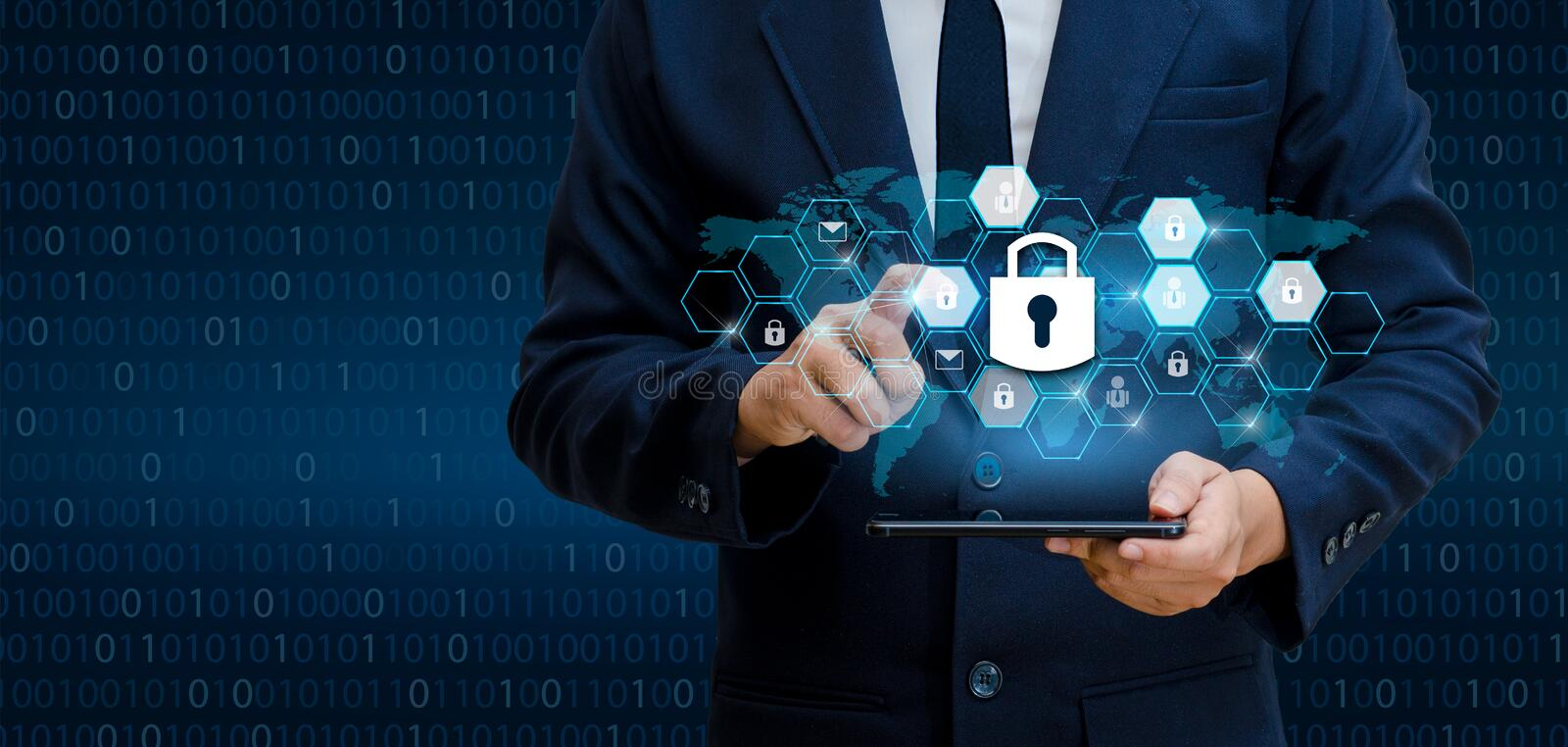 Unlocked smartphone lock Internet phone hand Businesspeople press the phone to communicate in the Internet. Cyber security concept royalty free stock images