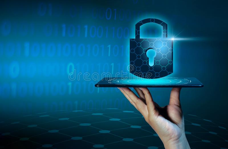 Unlocked smartphone lock Internet phone hand press the phone to communicate in the Internet. Cyber security concept hand protecti stock photos