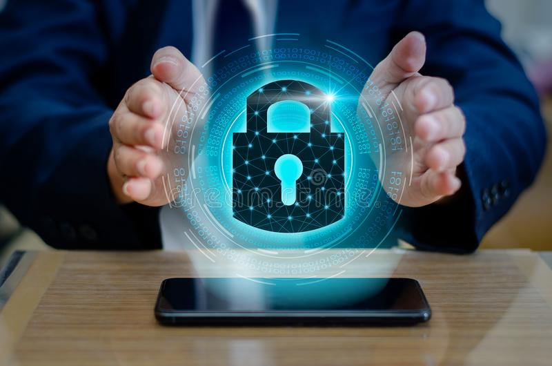 Unlocked smartphone lock Internet phone hand press the phone to communicate in the Internet. Cyber security concept hand protect royalty free stock photos