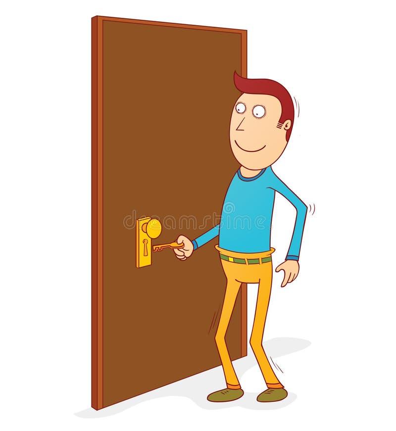 Unlocking the door stock vector. Illustration of standing ...