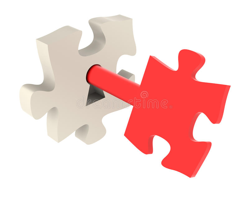 Unlocking The Puzzle. Red key and puzzle pieces - Isolated On White royalty free illustration