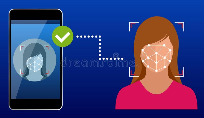 Unlocking smartphone with biometric facial identification, biometric identification, facial recognition system concept. Vector illustration for business royalty free illustration
