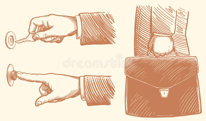 Unlocks the locking arm, hand presses the bell, businessman holding briefcase with documents. hand-drawn illustration. Vintage vector illustration