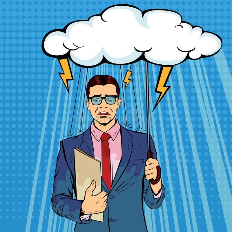 Unlucky businessman standing holding umbrella cloud being wet from raining. stock illustration