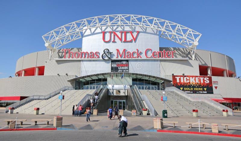 UNLV Thomas & sinal de Mack Center fotografia de stock