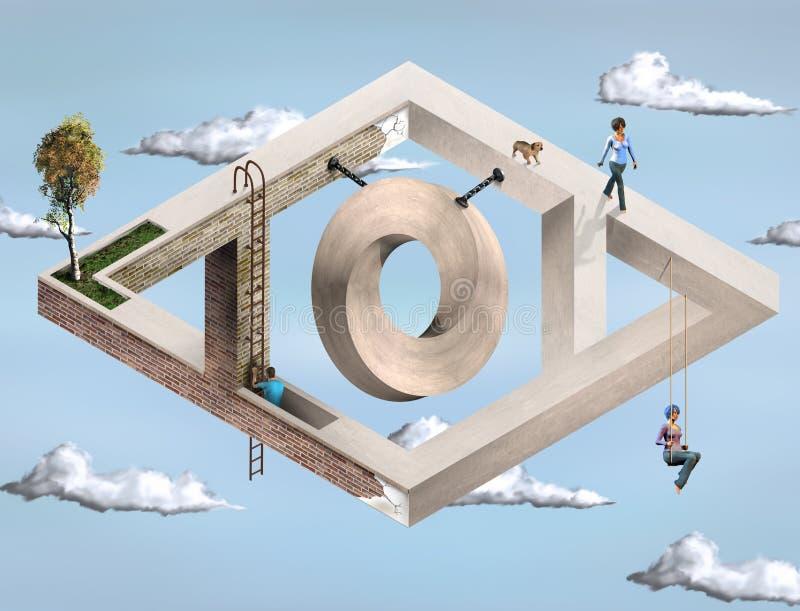 Unmögliche geometrische Architektur lizenzfreie abbildung