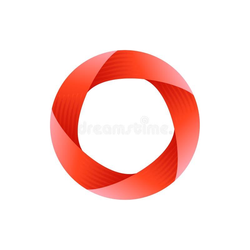 Unmögliches Kreis-Zeichen Abstrakte Zeichenauslegung Unmögliche Nachricht Symbol für Logoschablone Auch im corel abgehobenen Betr vektor abbildung