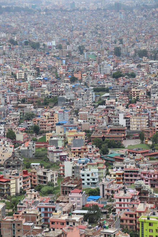 Unmanaged Urbanization. A perfect example of Unplanned urbanization.Bird`s eye view of Kathmandu, the capital city of Nepal stock photo