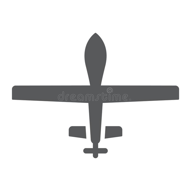Unmanned aerial glyph icon, military and vehicle, drone sign, vector graphics, a solid pattern on a white background. stock illustration