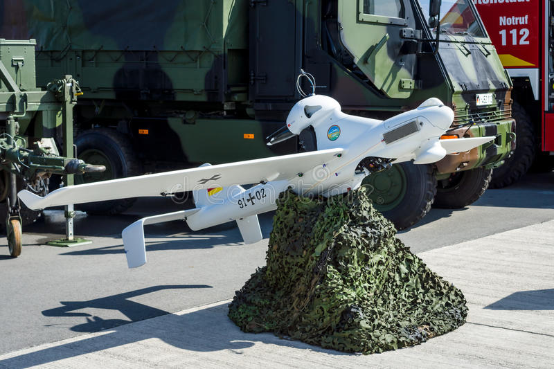 An unmanned aerial vehicle EMT Luna X-2000. BERLIN, GERMANY - JUNE 03, 2016: An unmanned aerial vehicle EMT Luna X-2000. German Army. Exhibition ILA Berlin Air royalty free stock images
