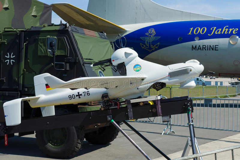 An unmanned aerial vehicle EMT Luna X-2000. BERLIN, GERMANY - MAY 21, 2014: An unmanned aerial vehicle EMT Luna X-2000. German Army. Exhibition ILA Berlin Air royalty free stock image