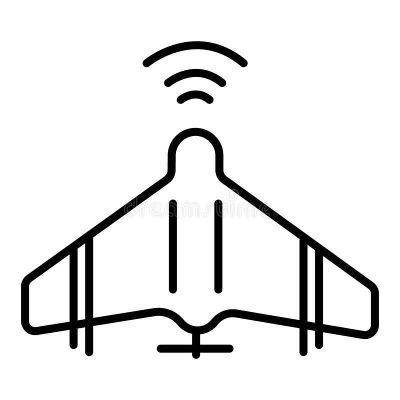 Unmanned aerial vehicle icon in single color. Aviation technology military drone modern warfare stock illustration