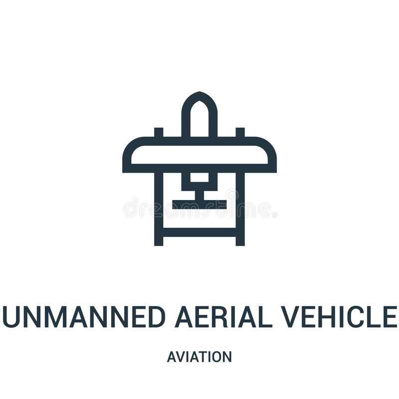 Unmanned aerial vehicle icon vector from aviation collection. Thin line unmanned aerial vehicle outline icon vector illustration. Linear symbol for use on web royalty free illustration