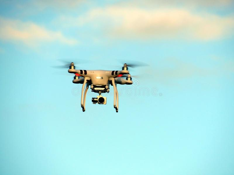 Unmanned aerial vehicle with your camera in action royalty free stock photos