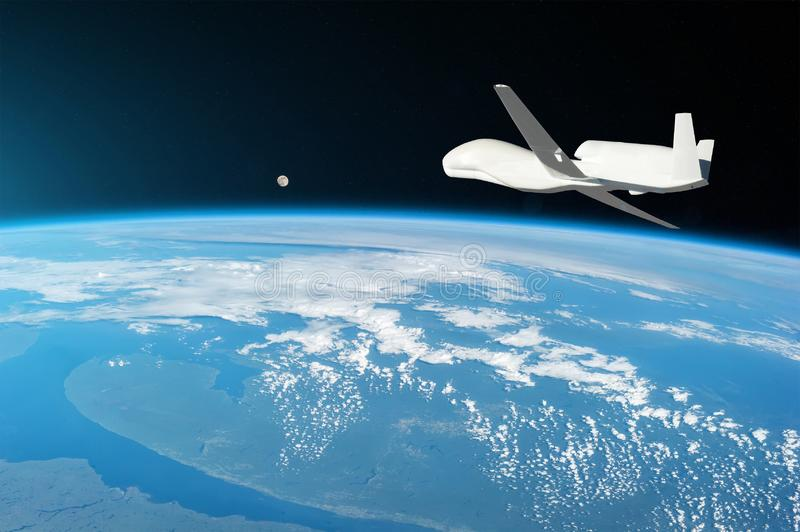 Unmanned aircraft flying in the upper atmosphere, the study of the gas shells of the planet Earth, moonrise on the horizon. royalty free stock photos