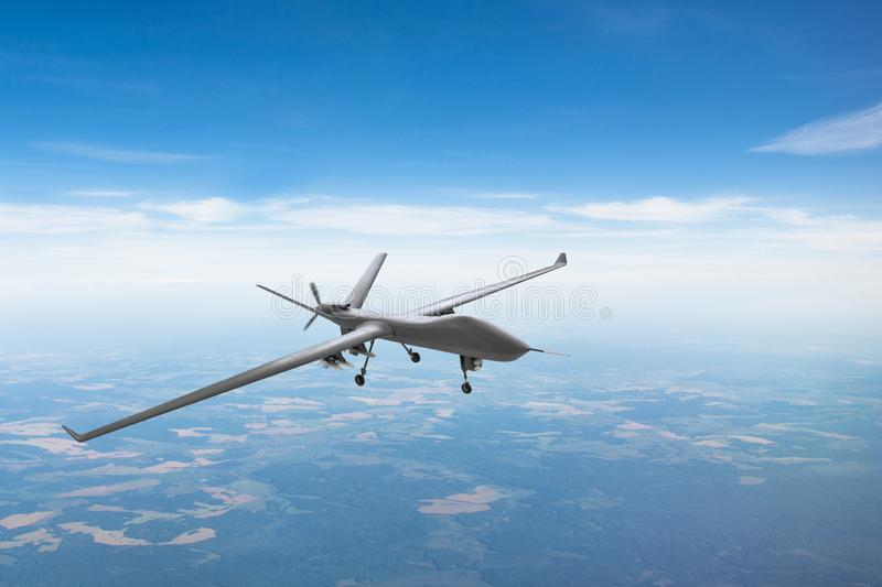 Unmanned aircraft patrol air sky at high altitude royalty free stock photos