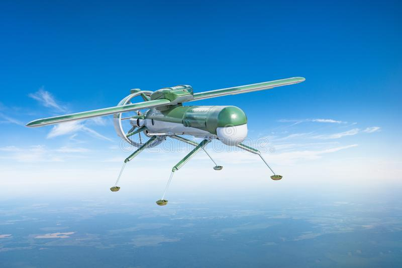 Unmanned military drone aircraft with landing legs on patrol air territory at altitude. stock photography