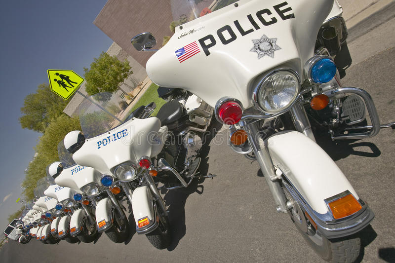 Unmanned Police Motorcycles Editorial Photography