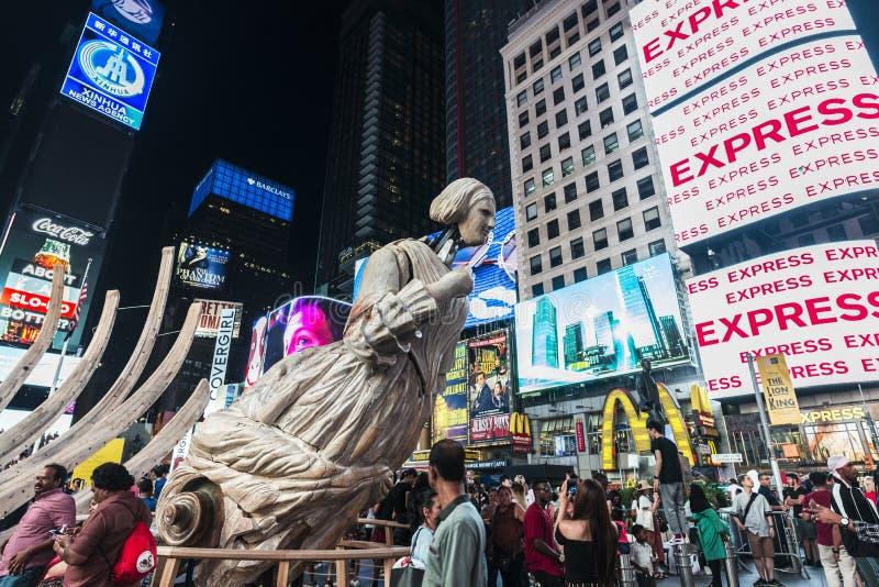 Unmoored no Times Square na noite em New York City, EUA fotos de stock
