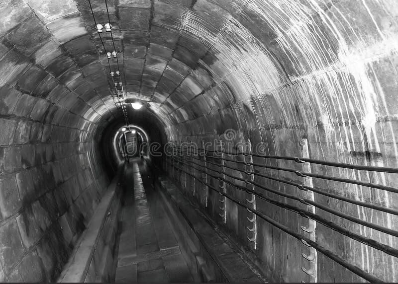 Unnel connecting underground constructions at Fort de Mutzig, Fortress of Kaiser Willheim II, Dutch Tilt, B&W stock photography