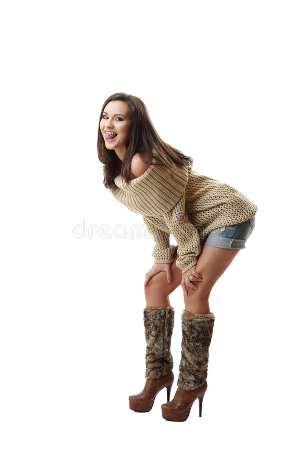 Unny woman show her braces royalty free stock images