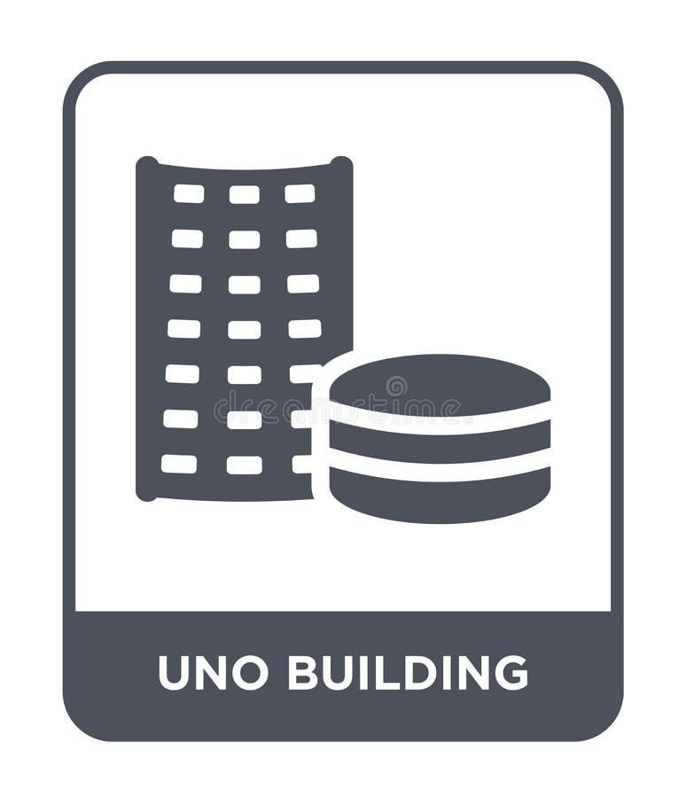 uno在时髦设计样式的大厦象 uno在白色背景隔绝的大厦象 uno大厦简单传染媒介的象和 库存例证