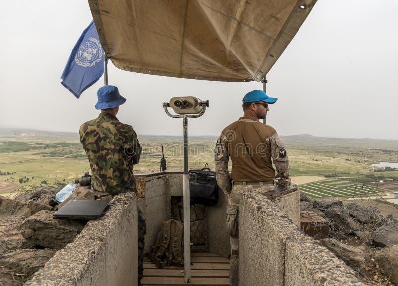 UNO-Beobachter in der israelischen syrischen Grenze stockbilder