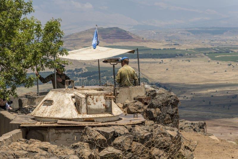 UNO-Beobachter in der israelischen syrischen Grenze stockfotos