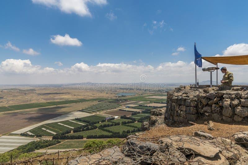 UNO-Beobachter in der israelischen syrischen Grenze lizenzfreie stockbilder