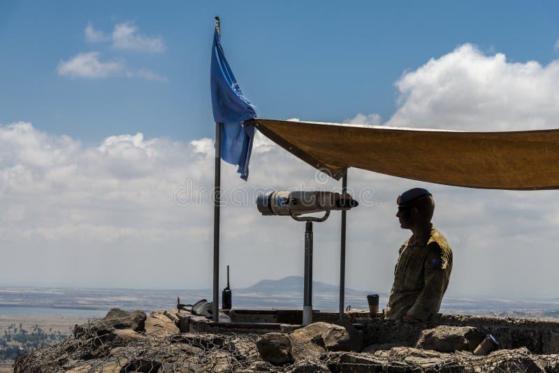 UNO-Beobachter in der israelischen syrischen Grenze stockbild