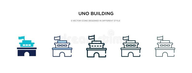 Uno-Building-Icon in einer anderen Stil-Vektorgrafik zwei farbige und schwarze uno-bildende Vektor-Icons, die in gefüllt entworfe vektor abbildung