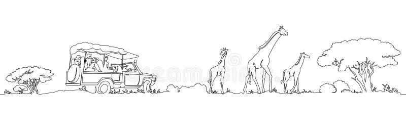 Uno continuo escoge el panorama pintado del safari del paisaje de las jirafas del ` s de África stock de ilustración