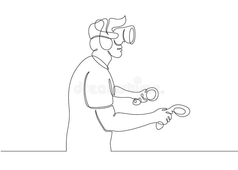 Uno continuo escoge la línea exhausta casco VR del hombre del garabato del arte libre illustration