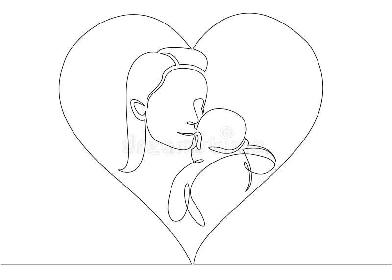 Uno continuo escoge la línea exhausta logotipo con la madre que celebra a su bebé con forma del corazón ilustración del vector