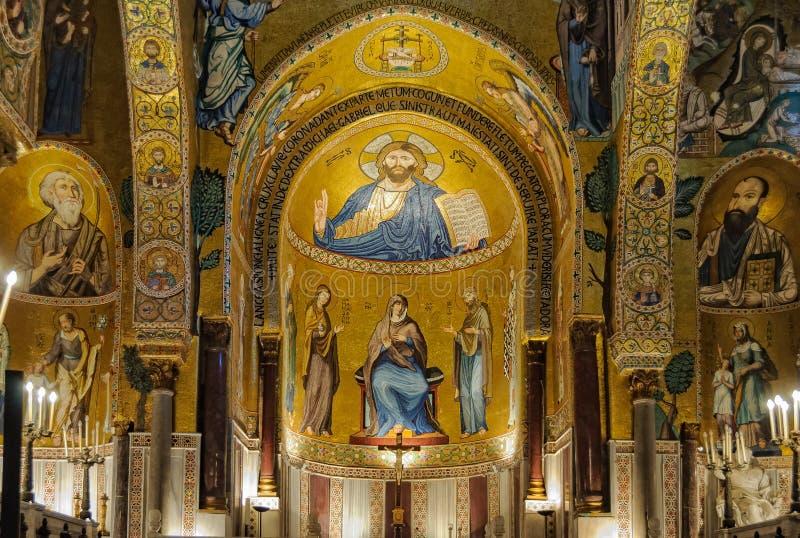 Uno de los tres ábsides de Cappella Palatina - Palermo fotografía de archivo