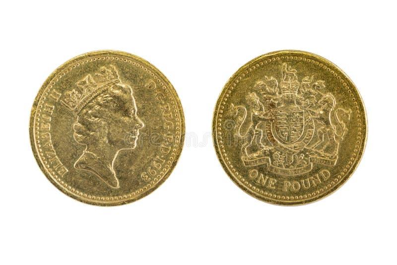 Uno de los viejos británicos monedas de una libra con el uso del tradin foto de archivo libre de regalías